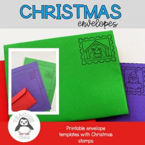 christmas envelope templates with christmas stamps