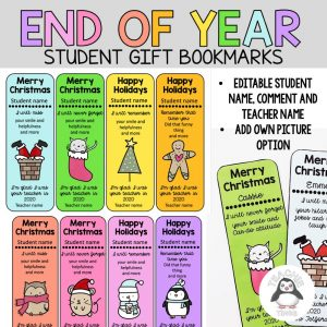 end of year student gift bookmarks