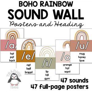 boho rainbow sound wall